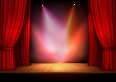 Red stage open theater velvet curtain with lights spots vector illustration Stock Illustratie