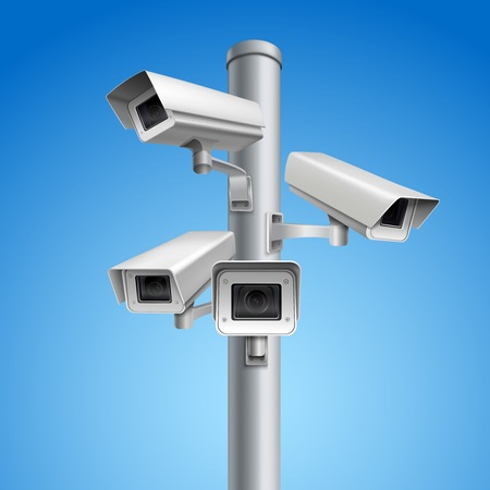 secrecy: Surveillance camera safety home protection secrecy inspection system pillar vector illustration