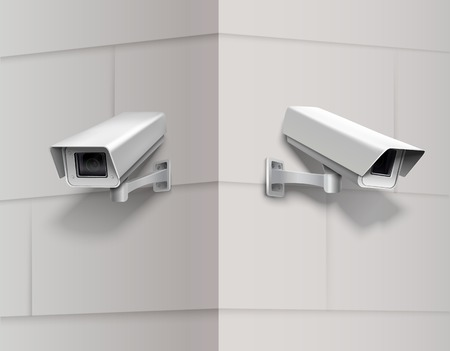 Surveillance camera home protection equipment secrecy inspection system on the wall vector illustration