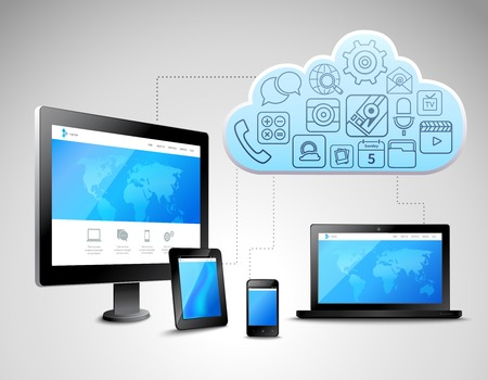 computer devices: Cloud computing concept with business icons and computer mobile devices vector illustration Illustration
