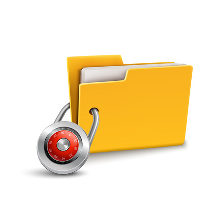 confidential: Yellow paper folder 3d with closed lock isolated on white background confidential data file security protection concept vector illustration Illustration