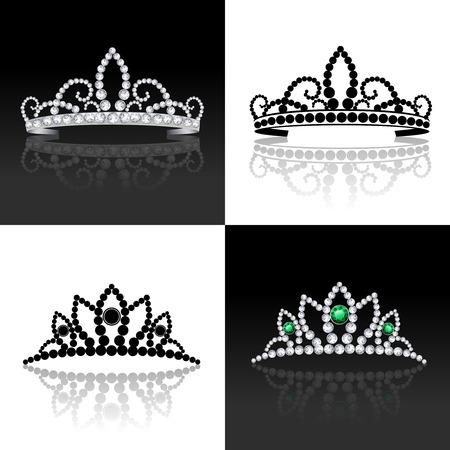 corona reina: Tiara de lujo de la joyería femenina real de plata decorativo conjunto aislado ilustración vectorial Vectores