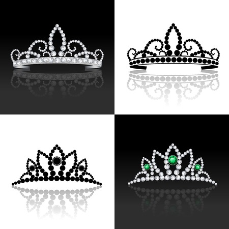 princess crown: Tiara female luxury royal jewelry silver decorative set isolated vector illustration