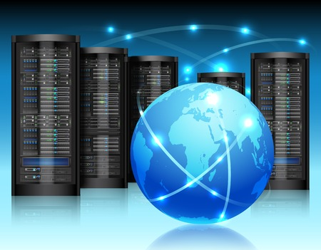network server: Global network concept with hardware computer server data center and globe vector illustration