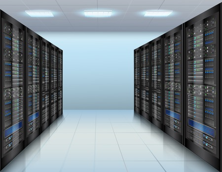 Concepto de centro de datos con la base de datos de servidores de red hardware ilustración vectorial habitación