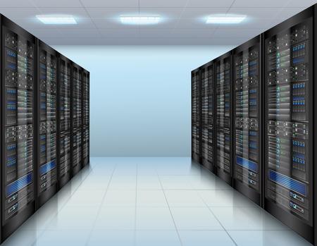 centro de computo: Concepto de centro de datos con la base de datos de servidores de red hardware ilustraci�n vectorial habitaci�n Vectores