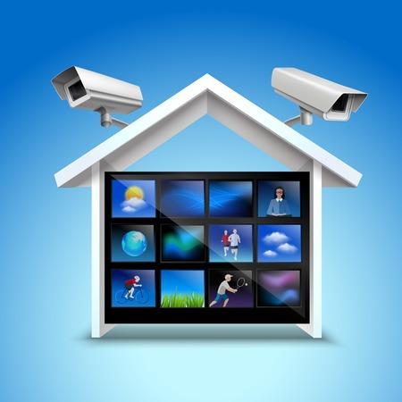 concept de sécurité de la vidéo avec des caméras de l'immobilier et de surveillance 3D réaliste illustration vectorielle Vecteurs