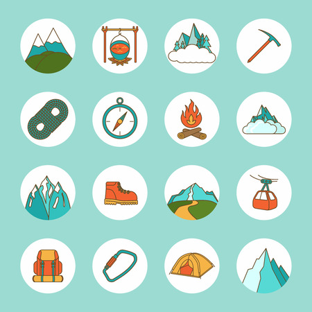 ice climbing: Mountain icons flat set with rope compass camping rock isolated vector illustration