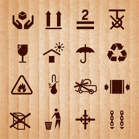 limitation: Handling and packing icons set with temperature limitation flammable no stack symbols isolated on cardboard background vector illustration Illustration