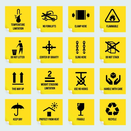 Handling and packing yellow stickers set with temperature limitation flammable no stack symbols isolated vector illustration