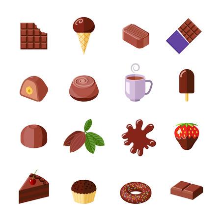 cioccolato natale: Cioccolato caramelle dolci muffin e ciambella piatto icons set illustrazione vettoriale isolato Vettoriali