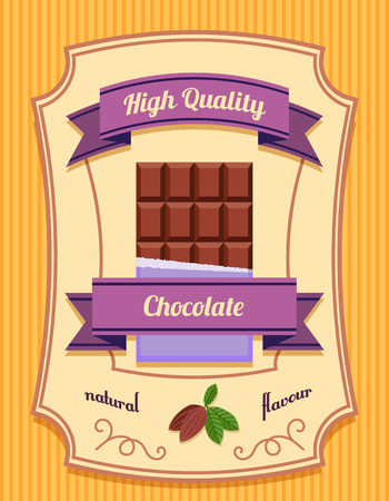 Chocolate bar pack high quality natural flavor flat poster vector illustration Vector