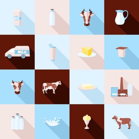 leche y derivados: Planos sombra iconos largas de productos lácteos Leche establecen con el procesamiento de chapoteo crema agria ilustración vectorial Vectores