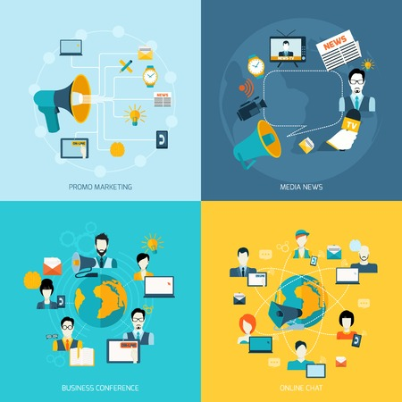 online news: Business communication icons set with promo marketing media news conference online chat isolated vector illustration