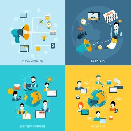 network marketing: Iconos de la comunicaci�n de negocios establecidos con el marketing promocional en rueda de prensa los medios de comunicaci�n en l�nea de chat ilustraci�n vectorial aislado