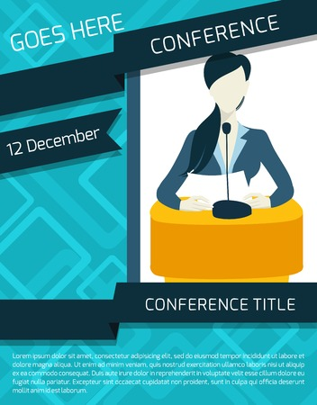 conference speaker: Public speaking person politician business speaker with paper and microphone conference announcement template vector illustration.