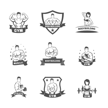 male figure: Bodybuilding fitness gym muscle athlete label black set isolated vector illustration Illustration