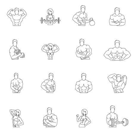 bicep: Bodybuilding fitness gym icons outline set with people workout isolated vector illustration Illustration