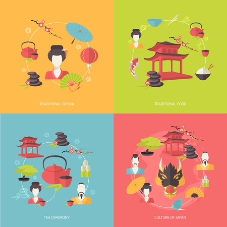 traditional culture: Japan travel icons flat set with traditional geisha food tea ceremony culture isolated vector illustration Illustration