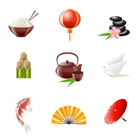 sky lantern: Japan icons realistic set with rice sky lantern stones isolated vector illustration Illustration