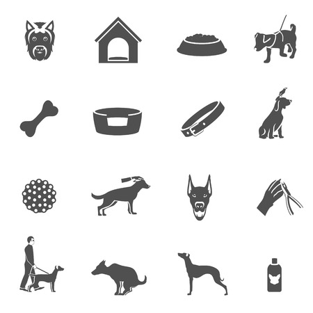 Dog icons black set with grooming shampoo puppy toys bone isolated vector illustration