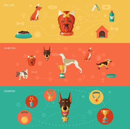 dog toy: Dog icons banner set with dog care exhibition champion isolated vector illustration