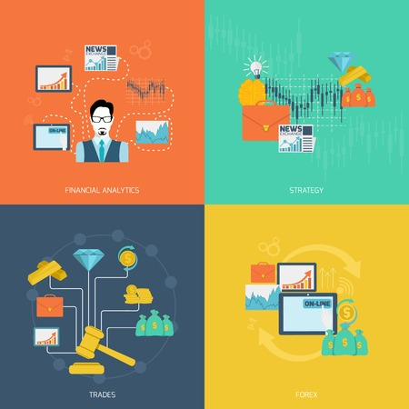forex: Finance exchange flat icons set with financial analytics strategy trades forex isolated vector illustration