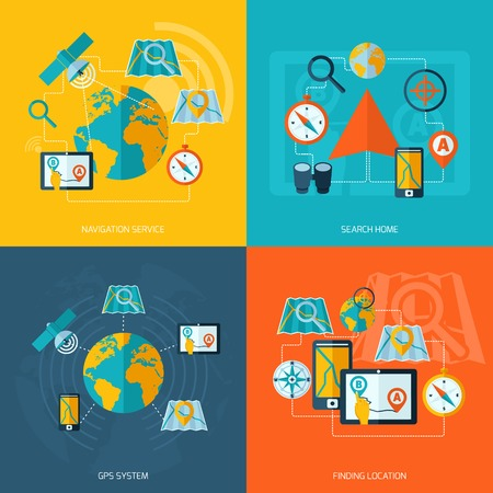 finding: Navigation flat icons set with service search home gps system finding location isolated vector illustration