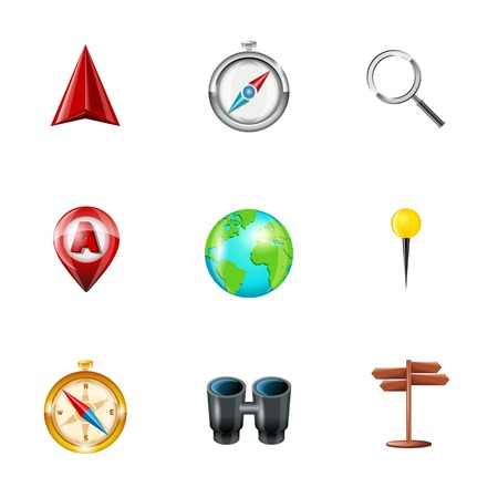 Mobile gps navigation and travel realistic icons set with geolocation routing mapping symbols isolated vector illustration Vector