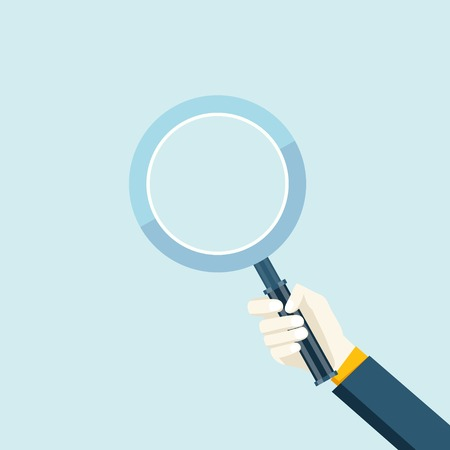 Magnifying glass in a hand flat navigation decorative element icon vector illustration