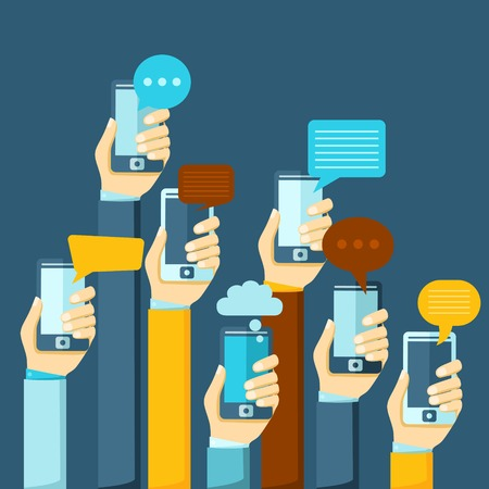 instant message: Modern mobile instant messenger chat poster with hands and smartphones vector illustration