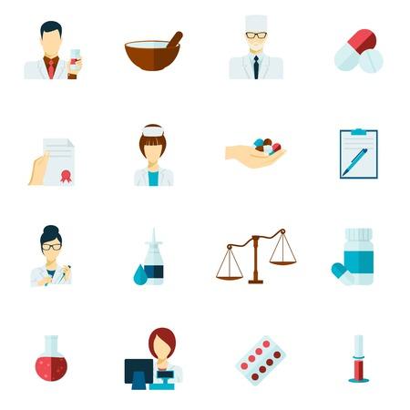 Pharmacy flat icons set with pharmacist avatars and pill symbols isolated vector illustration