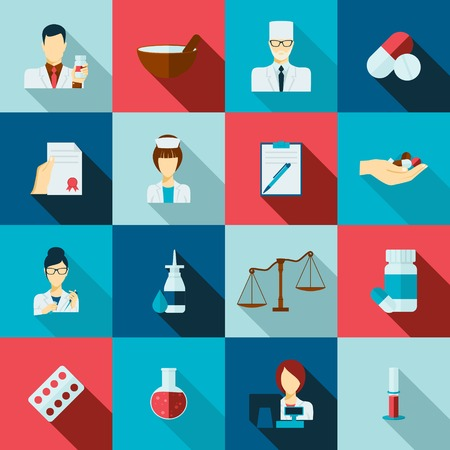 receipts: Pharmacy flat long shadow icons set with doctors avatars receipts and laboratory flasks isolated vector illustration