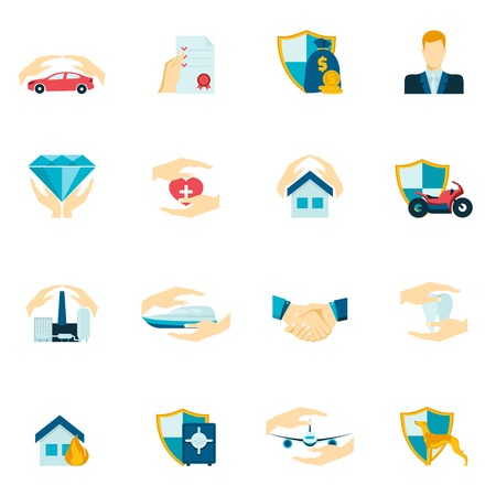 Insurance security icons flat set of medical property house protection isolated vector illustration