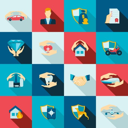 seguros: Seguridad Seguros iconos conjunto plana de los desastres de seguridad de vida aislado ilustraci�n vectorial