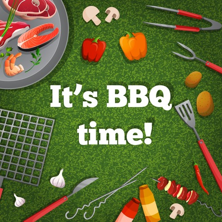 Bbq barbecue grill picnic poster with meat fish vegetables vector illustration