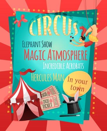 atmosfera: Cartel de circo retro con elefante espect�culo atm�sfera m�gica acr�batas incre�bles h�rcules hombre ilustraci�n vectorial Vectores