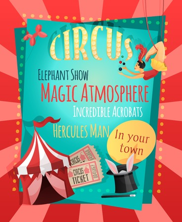 Circus retro poster with elephant show magic atmosphere incredible acrobats hercules man vector illustration