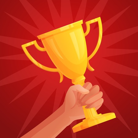 Human hand holding golden winner cup trophy competition success concept vector illustration