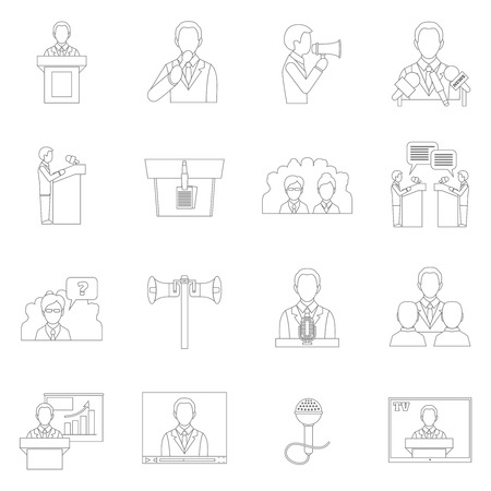 public speaking outline icons set with speech presentation