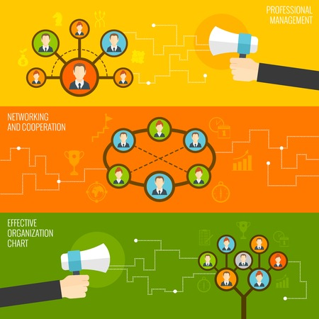 organizational chart: Connected people professional management networking and cooperation effective organizational chart flat banner set isolated vector illustration
