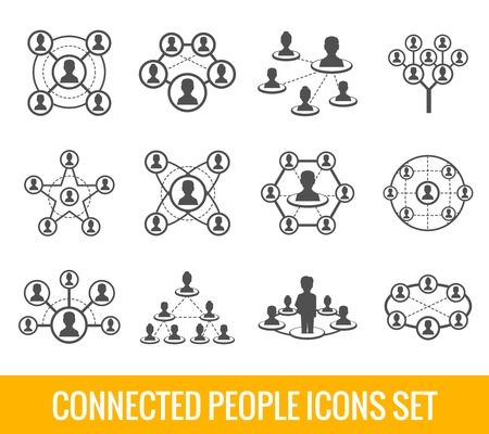 social web sites: Connected people social network human hierarchy black icons set isolated vector illustration