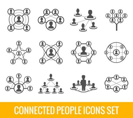 interaccion social: Personas conectadas red social iconos negros jerarquía humana conjunto aislado ilustración vectorial