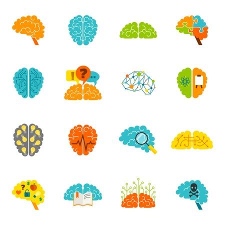 Human brain thinking intelligence memory strategy colored icons flat set isolated vector illustration