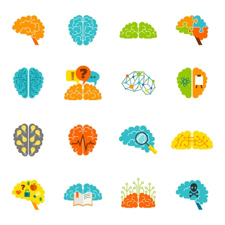 Human brain thinking intelligence memory strategy colored icons flat set isolated vector illustration