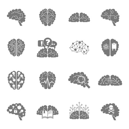 concentration: Human brain thinking intelligence memory strategy concentration icons black set isolated vector illustration Illustration