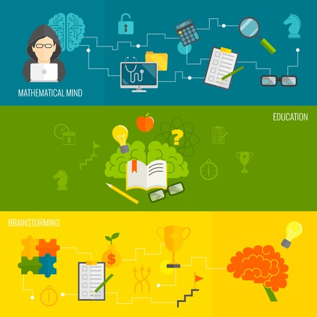 mathematical: Brain thinking banner flat set with mathematical mind brainstorming education isolated vector illustration Illustration