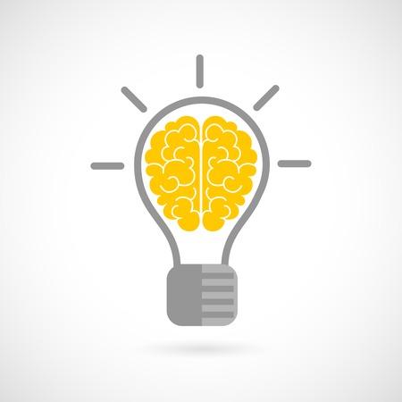 cerebro blanco y negro: Cerebro humano en el concepto de idea bombilla icono plana aislado en fondo blanco ilustraci�n vectorial