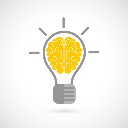 brain health: Human brain in lightbulb idea concept flat icon isolated on white background vector illustration