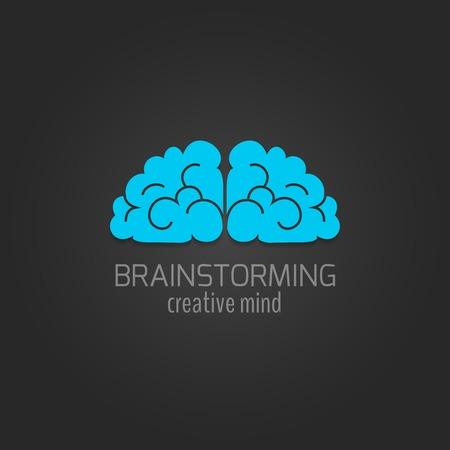 human mind: Icono plana Cerebro humano brainstorming concepto mente creativa aislado en fondo oscuro ilustraci�n vectorial